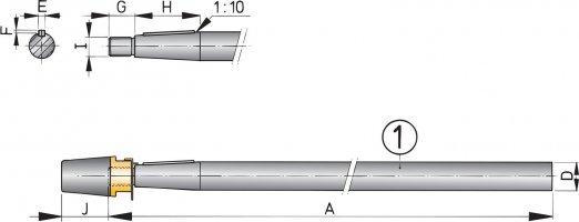 Schroefas 25mm,l=3000 mm rvs kompleet
